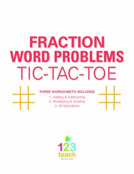 Fraction Word Problems Review Game - Partner Activity Tic Tac Toe