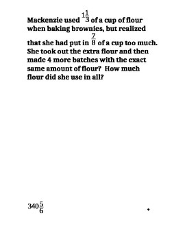 Fraction Word Problems Riddle