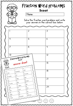 Fraction Word Problems Scoot Game