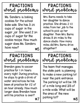 Fraction Word Problems for 5th Grade by Mix and Math   TpT