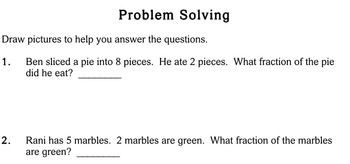 Fraction Word Problems, 2nd grade - worksheets - Individualized Math