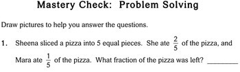 Fraction Word Problems, third grade - Individualized Math - worksheets