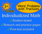 Fraction Word Problems, 3rd grade - Individualized Math - worksheets