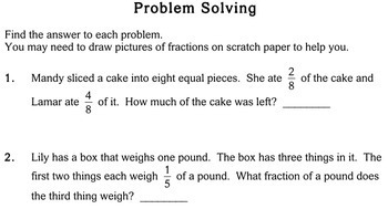 fraction word problems rd grade  worksheets  individualized math