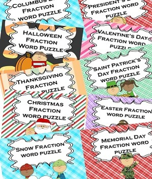 Fractions Math for All Seasons for Math or Literacy Centers