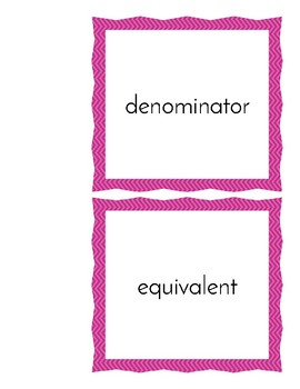 Fraction Word Wall Cards