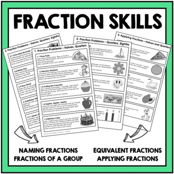 Fraction Worded Problems - 77 Task Cards Problems  - 1st to 4th Grade