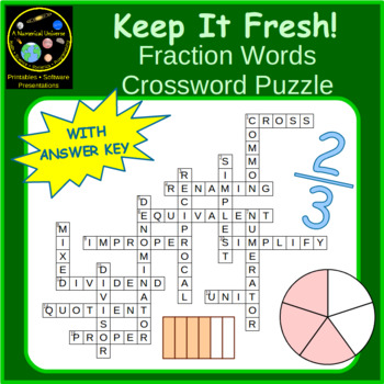 Fraction Words Vocabulary Crossword Puzzle
