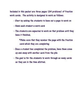 Fraction Work Cards