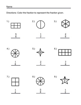 Fraction Worksheet Pack 10 Pages Naming and Coloring Fractions