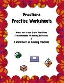Fraction Worksheet Pack - 6 Worksheets Naming and Coloring Fractions Set 2