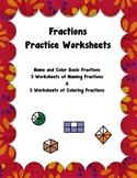 Fraction Worksheet Pack - 6 Worksheets Naming and Coloring