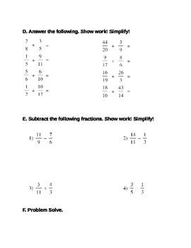 Fraction Worksheet Quiz