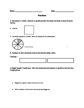 Fraction Worksheet/Test- Modified 3rd Grade EngageNY Common Core Module 5