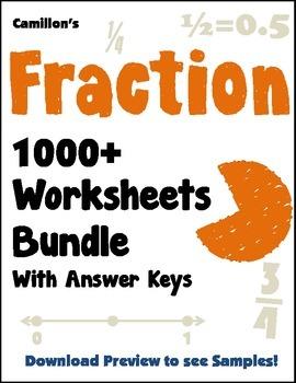 Fraction Worksheets Bundle (w/ Fraction Operations, Equiva
