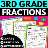 3rd Grade Fractions Worksheets   3.NF.1, 3.NF.2, 3.NF.3