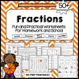 Fraction Worksheets   Fractions on a Number Line - NO PREP PRINTABLES