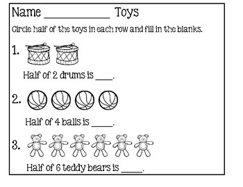 Fraction Worksheets For Beginners ~ Half by Lily B Creations | TpT