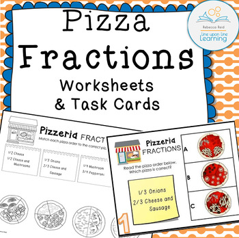 Fraction Worksheets and Task Cards (Pizza theme)