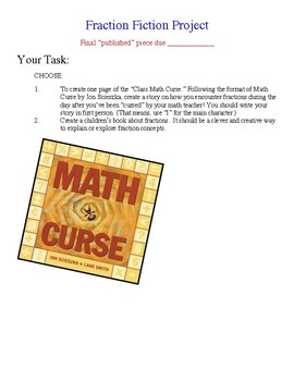 "Fraction Writing Project Based off ""The Math Curse"""