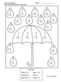 Fraction addition - Like Denominators - Rainy Day Coloring Puzzle