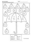 Fraction addition - Like Denominators - Rainy Day Coloring Puzzle