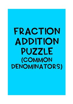 Fraction addition (common denominators) {30 match cards}