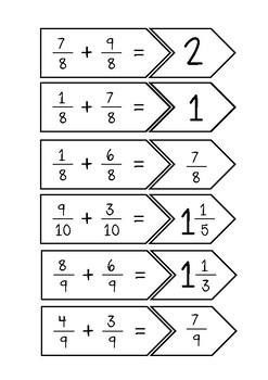 #AUSBTS18 Fraction addition (common denominators) {30 match cards}