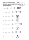 Fraction addition practice worksheet - Adding and coloring fractions