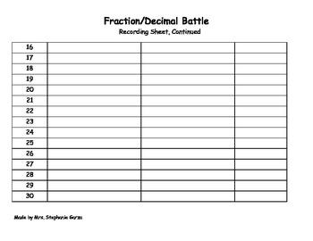 Fraction and Decimal Battle 7th grade Math Games