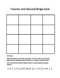 Fraction and Decimal Bingo