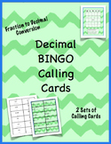 Fraction and Decimal Bingo Calling Cards