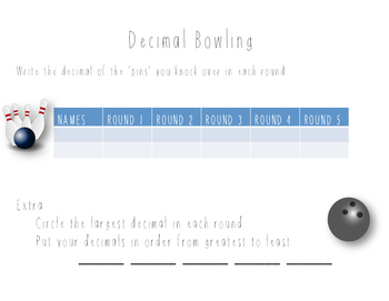 Fraction and Decimal Bowling