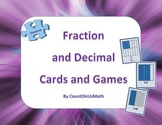 Fraction and Decimal Card Games and Cards