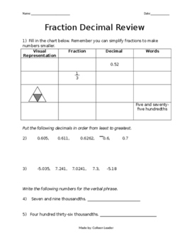 Fraction and Decimal Comparison Review