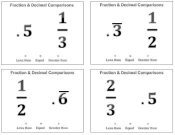 Fraction and Decimal Comparisons Flash Cards