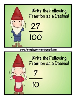 Fraction and Decimal Conversion Yard Gnome Hunt