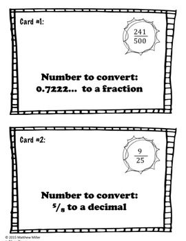 Fraction and Decimal Conversions: Scavenger Hunt (8.NS.1)