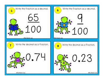 Fraction and Decimal Conversions Task Cards- Lizard Theme