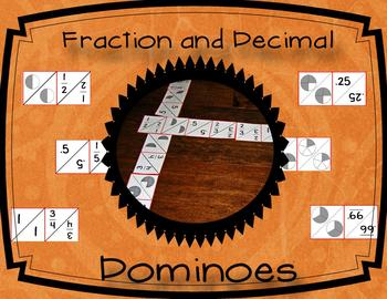 Fraction and Decimal Dominoes: Whole, Half, Thirds, Fourths, Fifths