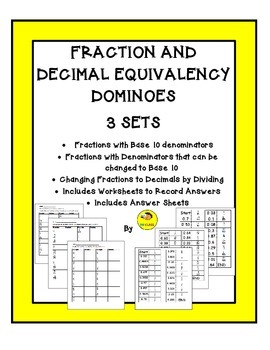 Fraction and Decimal Equivalency Dominoes Set
