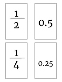 Fraction and Decimal Equivalent Flashcards