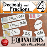 Decimal and Fraction Equivalents Center - with Visual Model - Distance Learning