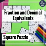 Fraction and Decimal Equivalents Square Puzzle  4.NF.6