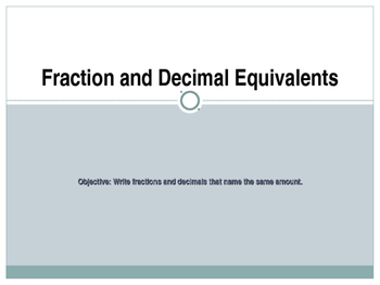Fraction and Decimal Equivalents and Conversions