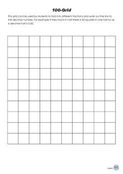 Fraction and Decimal Folding Hundred Grid