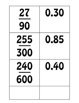 Fraction and Decimal Matching / Ordering