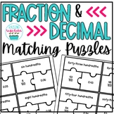Fraction and Decimal Matching Puzzles Fourth Grade