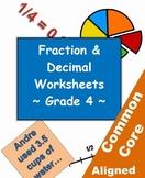 Fraction and Decimal Mega Pack - 93 Grade 4 Worksheets