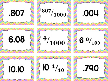 Fraction and Decimal Memory